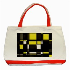 Color Geometry Shapes Plaid Yellow Black Classic Tote Bag (red)