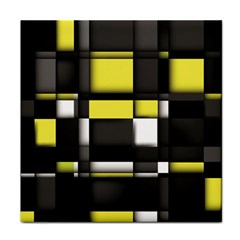 Color Geometry Shapes Plaid Yellow Black Face Towel