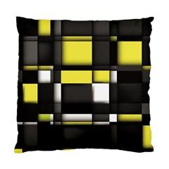 Color Geometry Shapes Plaid Yellow Black Standard Cushion Case (two Sides)