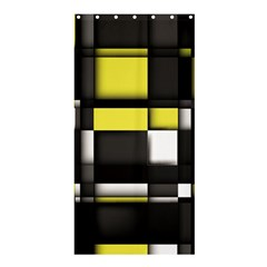 Color Geometry Shapes Plaid Yellow Black Shower Curtain 36  X 72  (stall)