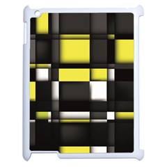 Color Geometry Shapes Plaid Yellow Black Apple Ipad 2 Case (white)