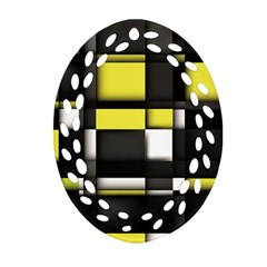 Color Geometry Shapes Plaid Yellow Black Oval Filigree Ornament (two Sides)