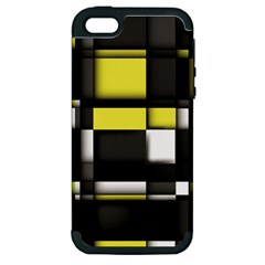Color Geometry Shapes Plaid Yellow Black Apple Iphone 5 Hardshell Case (pc+silicone)