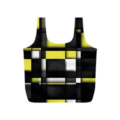 Color Geometry Shapes Plaid Yellow Black Full Print Recycle Bags (s)