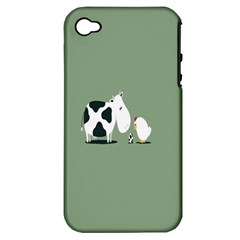 Cow Chicken Eggs Breeding Mixing Dominance Grey Animals Apple Iphone 4/4s Hardshell Case (pc+silicone)