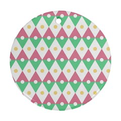 Diamond Green Circle Yellow Chevron Wave Ornament (round)