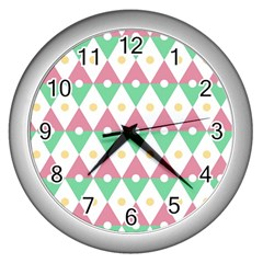 Diamond Green Circle Yellow Chevron Wave Wall Clocks (silver)