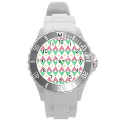 Diamond Green Circle Yellow Chevron Wave Round Plastic Sport Watch (l)