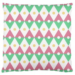 Diamond Green Circle Yellow Chevron Wave Large Cushion Case (one Side)