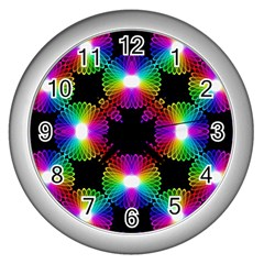 Circle Color Flower Wall Clocks (silver)