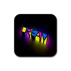 Dream Colors Neon Bright Words Letters Motivational Inspiration Text Statement Rubber Coaster (square)