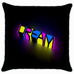 Dream Colors Neon Bright Words Letters Motivational Inspiration Text Statement Throw Pillow Case (black)