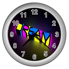 Dream Colors Neon Bright Words Letters Motivational Inspiration Text Statement Wall Clocks (silver)
