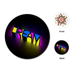 Dream Colors Neon Bright Words Letters Motivational Inspiration Text Statement Playing Cards (round)
