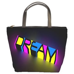 Dream Colors Neon Bright Words Letters Motivational Inspiration Text Statement Bucket Bags