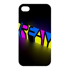 Dream Colors Neon Bright Words Letters Motivational Inspiration Text Statement Apple Iphone 4/4s Hardshell Case