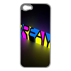 Dream Colors Neon Bright Words Letters Motivational Inspiration Text Statement Apple Iphone 5 Case (silver)