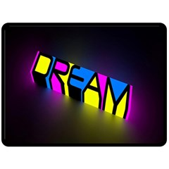 Dream Colors Neon Bright Words Letters Motivational Inspiration Text Statement Double Sided Fleece Blanket (large)