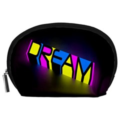 Dream Colors Neon Bright Words Letters Motivational Inspiration Text Statement Accessory Pouches (large)