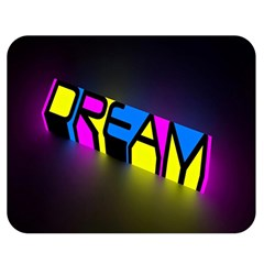 Dream Colors Neon Bright Words Letters Motivational Inspiration Text Statement Double Sided Flano Blanket (medium)