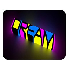 Dream Colors Neon Bright Words Letters Motivational Inspiration Text Statement Double Sided Flano Blanket (large)