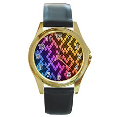 Colorful Abstract Plaid Rainbow Gold Purple Blue Round Gold Metal Watch
