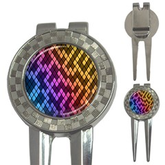 Colorful Abstract Plaid Rainbow Gold Purple Blue 3 In 1 Golf Divots