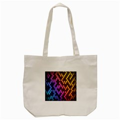 Colorful Abstract Plaid Rainbow Gold Purple Blue Tote Bag (cream)