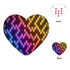 Colorful Abstract Plaid Rainbow Gold Purple Blue Playing Cards (heart)