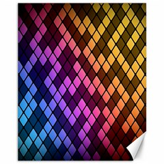 Colorful Abstract Plaid Rainbow Gold Purple Blue Canvas 11  X 14