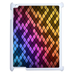 Colorful Abstract Plaid Rainbow Gold Purple Blue Apple Ipad 2 Case (white)