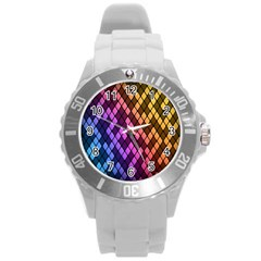 Colorful Abstract Plaid Rainbow Gold Purple Blue Round Plastic Sport Watch (l)