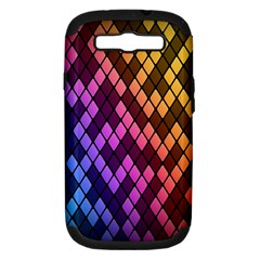 Colorful Abstract Plaid Rainbow Gold Purple Blue Samsung Galaxy S Iii Hardshell Case (pc+silicone)