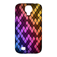 Colorful Abstract Plaid Rainbow Gold Purple Blue Samsung Galaxy S4 Classic Hardshell Case (pc+silicone)