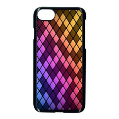Colorful Abstract Plaid Rainbow Gold Purple Blue Apple Iphone 7 Seamless Case (black)