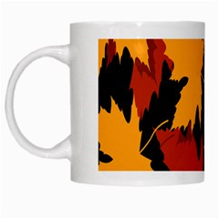 Dried Leaves Yellow Orange Piss White Mugs