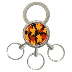 Dried Leaves Yellow Orange Piss 3 Ring Key Chains