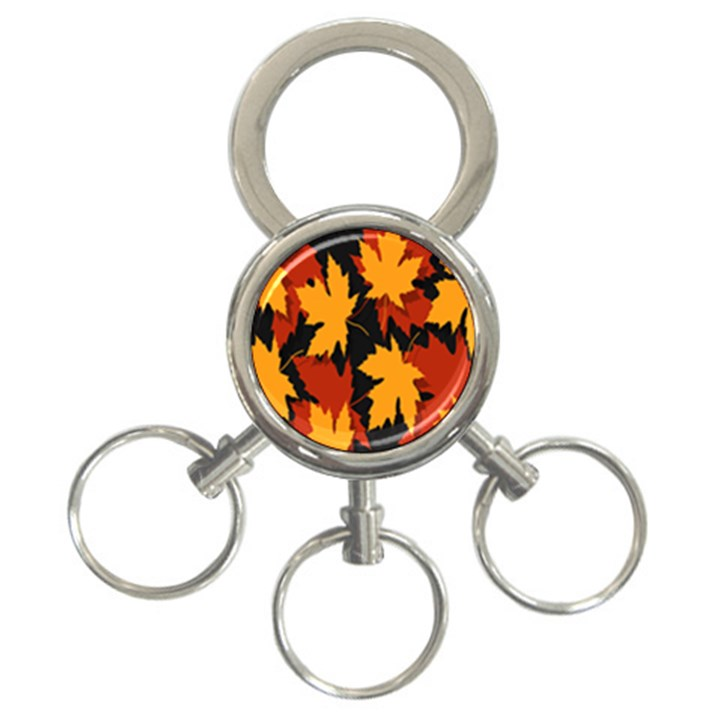 Dried Leaves Yellow Orange Piss 3-Ring Key Chains