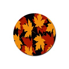 Dried Leaves Yellow Orange Piss Rubber Round Coaster (4 Pack)