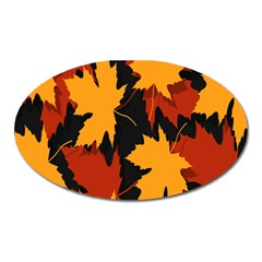 Dried Leaves Yellow Orange Piss Oval Magnet