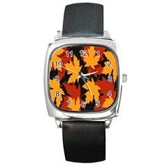 Dried Leaves Yellow Orange Piss Square Metal Watch
