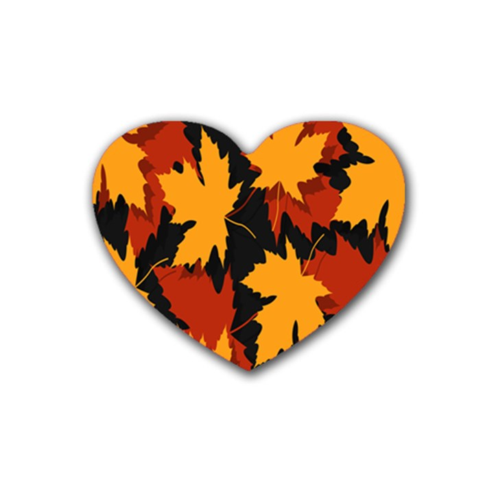 Dried Leaves Yellow Orange Piss Heart Coaster (4 pack)