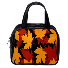 Dried Leaves Yellow Orange Piss Classic Handbags (One Side)