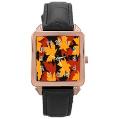 Dried Leaves Yellow Orange Piss Rose Gold Leather Watch