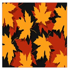 Dried Leaves Yellow Orange Piss Large Satin Scarf (square)