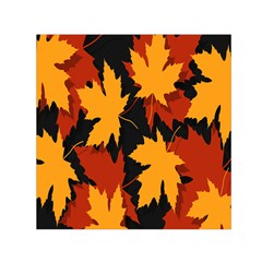 Dried Leaves Yellow Orange Piss Small Satin Scarf (square)