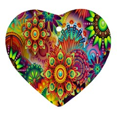 Colorful Abstract Flower Floral Sunflower Rose Star Rainbow Ornament (heart)