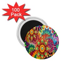Colorful Abstract Flower Floral Sunflower Rose Star Rainbow 1 75  Magnets (100 Pack)