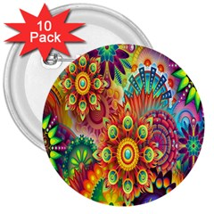 Colorful Abstract Flower Floral Sunflower Rose Star Rainbow 3  Buttons (10 Pack)