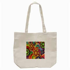 Colorful Abstract Flower Floral Sunflower Rose Star Rainbow Tote Bag (cream)